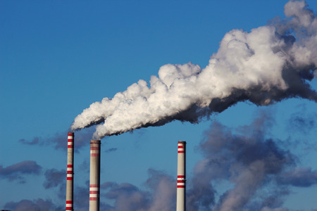 coal plant: smoke from  chimneys of coal power plant