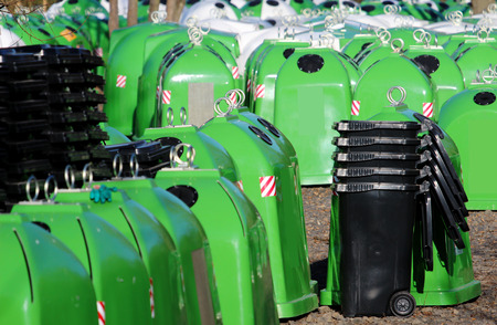 different kind of bins for municipal waste Stock Photo