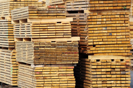 stock of wood lumbers on the factory yard Stock Photo