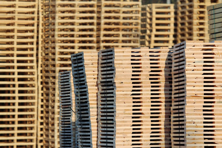 new wooden pallets on factory  backyard Stock Photo