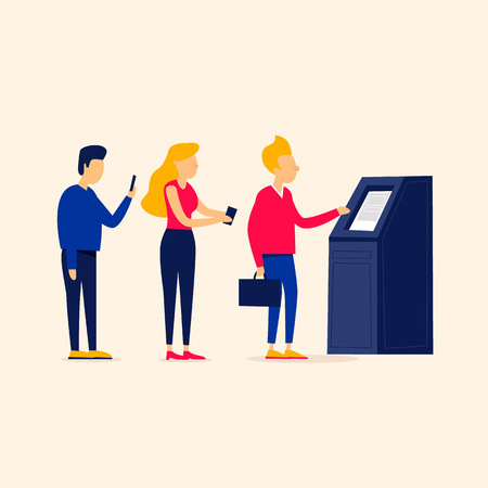 People stand in line at the ATM, withdraw cash, pay bills. Flat style vector illustration. Illusztráció