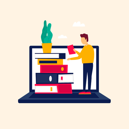 Online library, e-books, self-education. Flat style vector illustration. Ilustracja