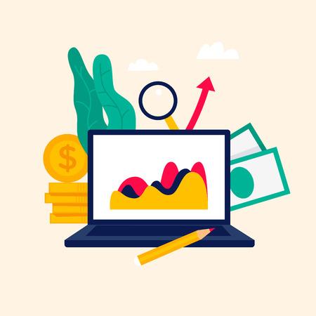 Analyse, investissements, statistiques, gagner de l'argent. Illustration vectorielle de style plat.