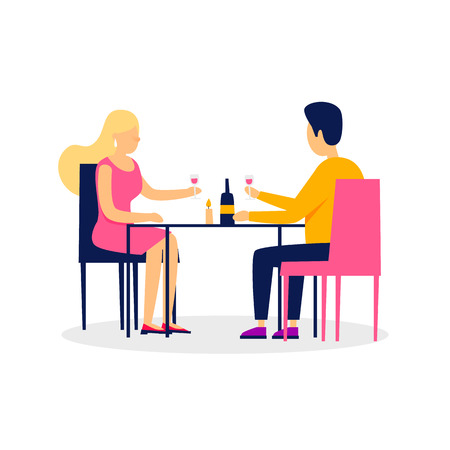 Date, lovers sit in the restaurant drink wine. Flat style vector illustration.