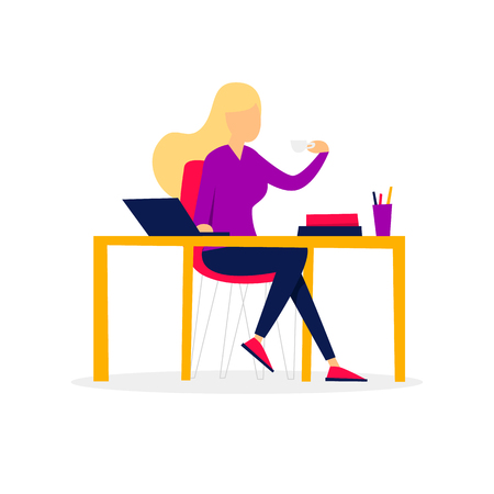Girl drinking coffee, office life. Flat style vector illustration.