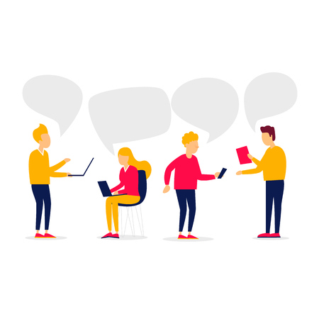 Group of people communicates via the Internet. Flat style vector illustration.