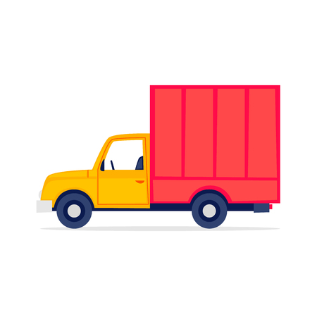 Trucking, truck, moving, boxes. Flat style vector illustration Illustration