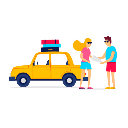 Couple going on a trip to the car, holding a card. Flat style vector illustration