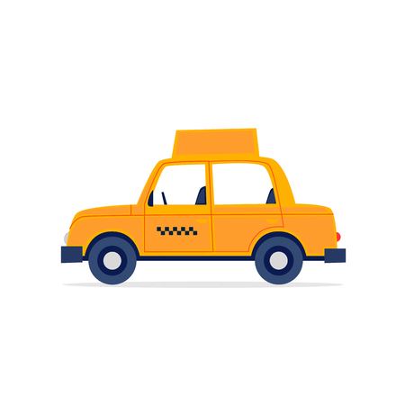 Taxi, white background. Flat style vector illustration