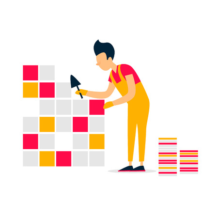 Tile laying, repair, bathroom, building. Flat style vector illustration