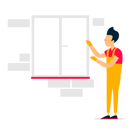 Installation of windows, repair, construction. Flat style vector illustration