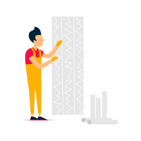Wallpaper gluing, repair, building. Flat style vector illustration