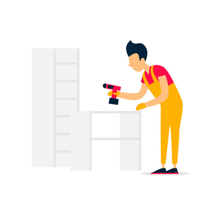 Collector of furniture. Flat style vector illustration