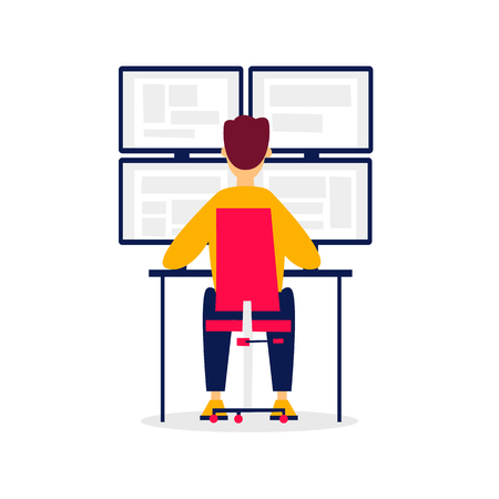 Guard sits in front of the monitors. Flat style vector illustration