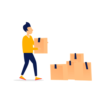 Man carries a box, moving, things. Flat style vector illustration.