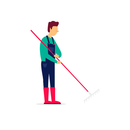Man holding a rake, autumn, agriculture. Flat