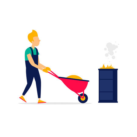 Man is pushing a wheelbarrow with leaves, cleaning, autumn, agriculture. Flat Vectores