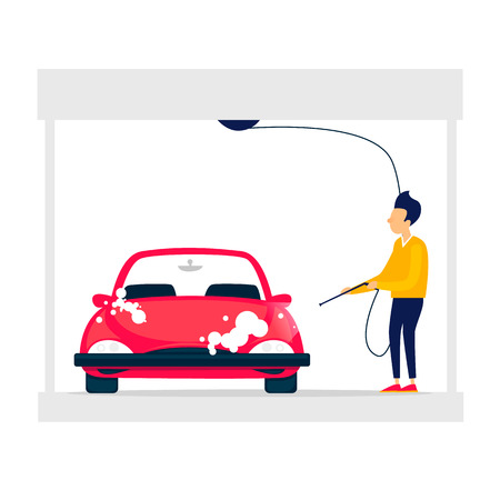 Touchless car wash. Flat style vector illustration.