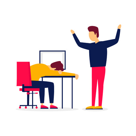 Mitarbeiter ist am Arbeitsplatz eingeschlafen, schreit der Chef. Flache Illustration isoliert auf weißem Hintergrund.