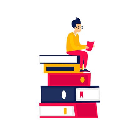 Il ragazzo della biblioteca si siede sui libri e legge. Illustrazione vettoriale di design piatto.
