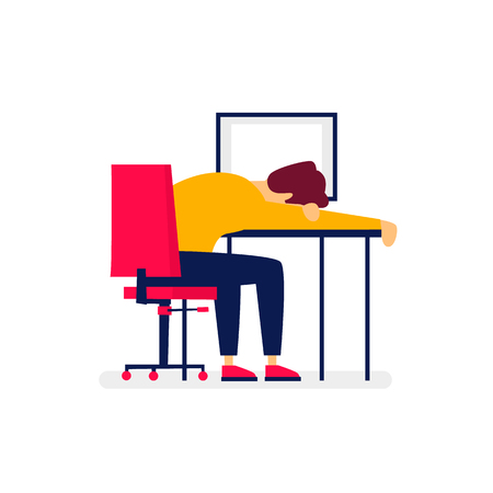 Businessman fell asleep in the workplace. Flat illustration in cartoon style. Vector.