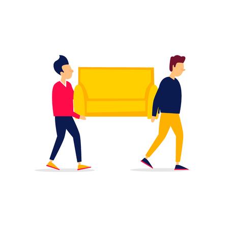 En mouvement, les hommes portent un canapé. Illustration plate