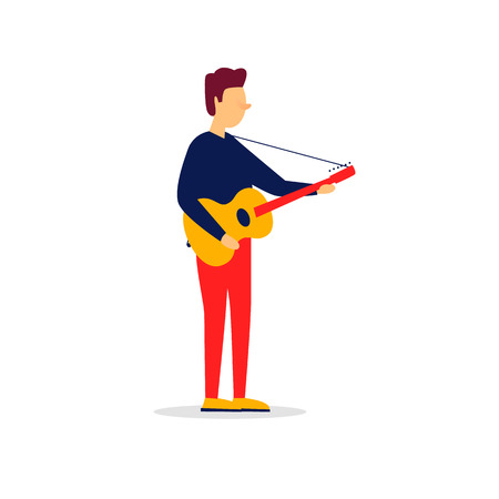 Man playing the guitar. Vector illustration Çizim