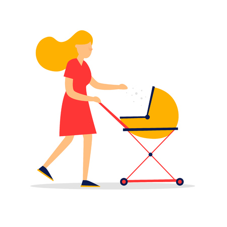 Woman with a pram, young mom. Flat style vector illustration.
