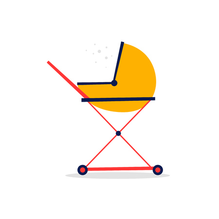 Baby stroller. Flat style vector illustration.