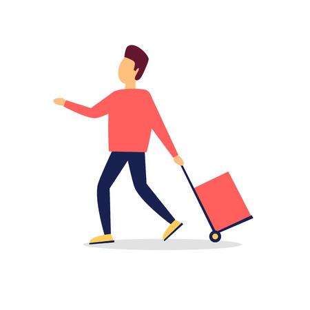 Man pulls a cart. Flat style vector illustration. 向量圖像