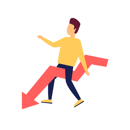 Crisis, a man sits on the arrow. Flat style vector illustration.