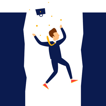Businessman falls into abyss, crisis, bankruptcy. Flat style vector illustration.