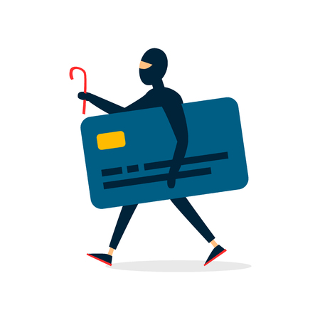 Thief stole a credit card, money. Flat style vector illustration.