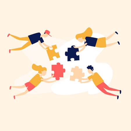 Teamwork, people put together puzzles. Flat style vector illustration.
