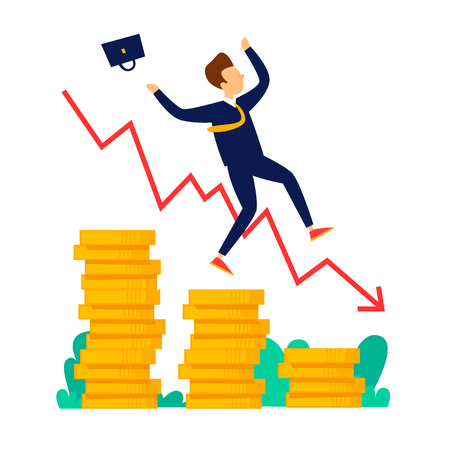 Businessman falls from coins crisis, bankruptcy. Flat style vector illustration.