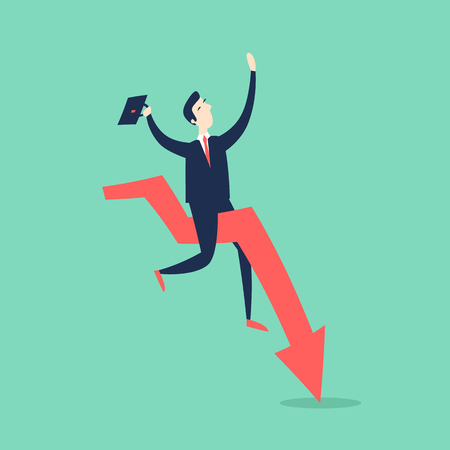 Businessman falls on the arrow. 3D. Flat style vector illustration.  イラスト・ベクター素材