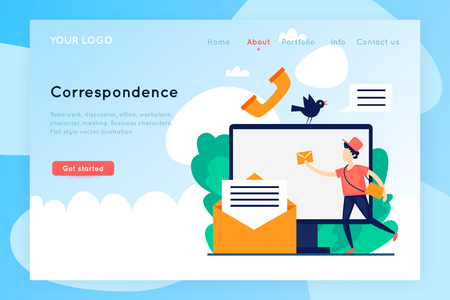 Correspondence, communication via the Internet. Site template. Virtual communication. Landing Page template. Vector illustration