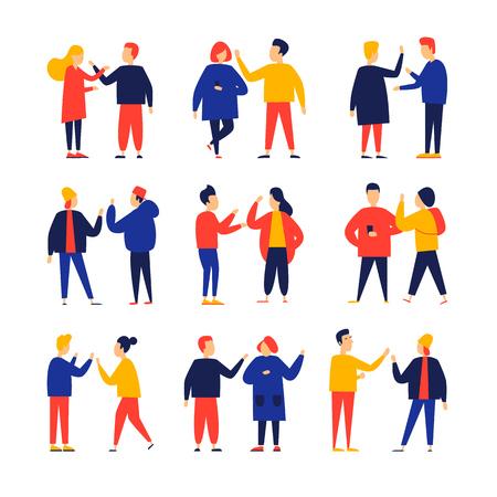 Couples walk, chat, meet. Flat style vector illustration. Ilustração