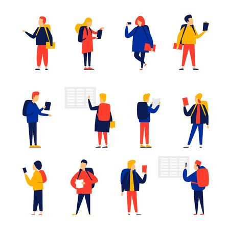Students. Flat style vector illustration.