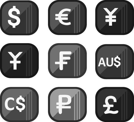 Set money and business symbols, success attributes