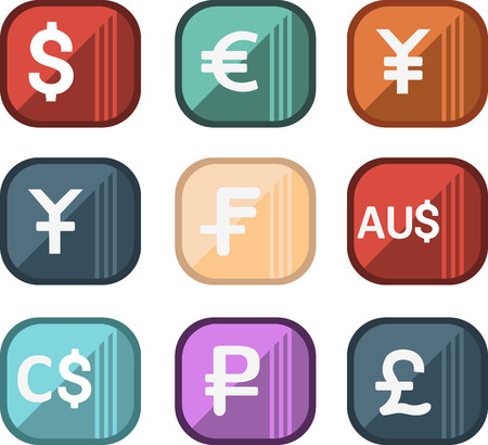 most popular: Icons of world currencies, set the most popular currencies in the world