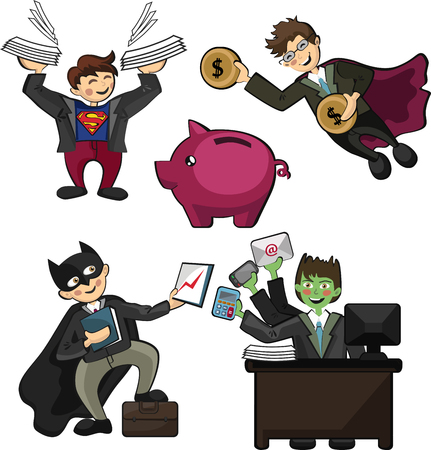 office workers in the form of superheroes, with superpowers workers, universal workers, capable of doing several things at once