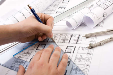 drafting tools: Architectural plans and blueprints in office