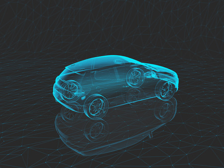x sport: blue x-ray car on a gray background in 3d