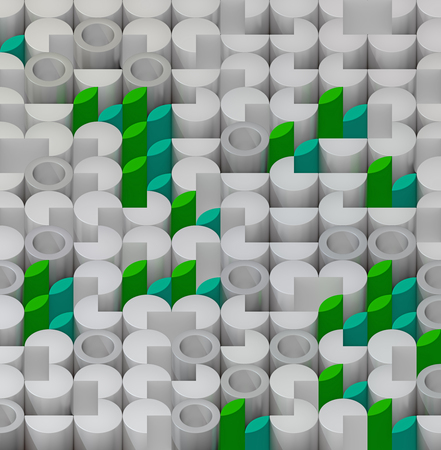 sectors: Random object isometric pattern of the gray cylinders, tube, sectors and green leaf Stock Photo