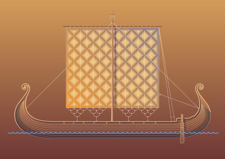 drakkar: Old scandinavian ship. Viking ship Illustration