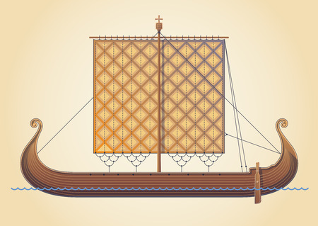 drakkar: Old Scandinavian ship. Viking ship