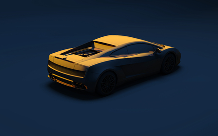 coupe: sports gold car on a dark blue background Stock Photo