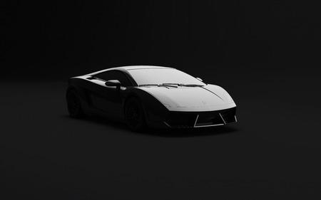 Noir voiture de sport de luxe sur fond sombre. Illustration 3D. Banque d'images - 57222049
