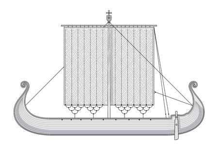 drakkar: Scandinavian Gokstad ship. Vintage Viking ship. Big old Norwegian ship
